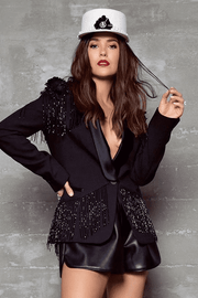 Black Beaded Tuxedo Blazer Jacket