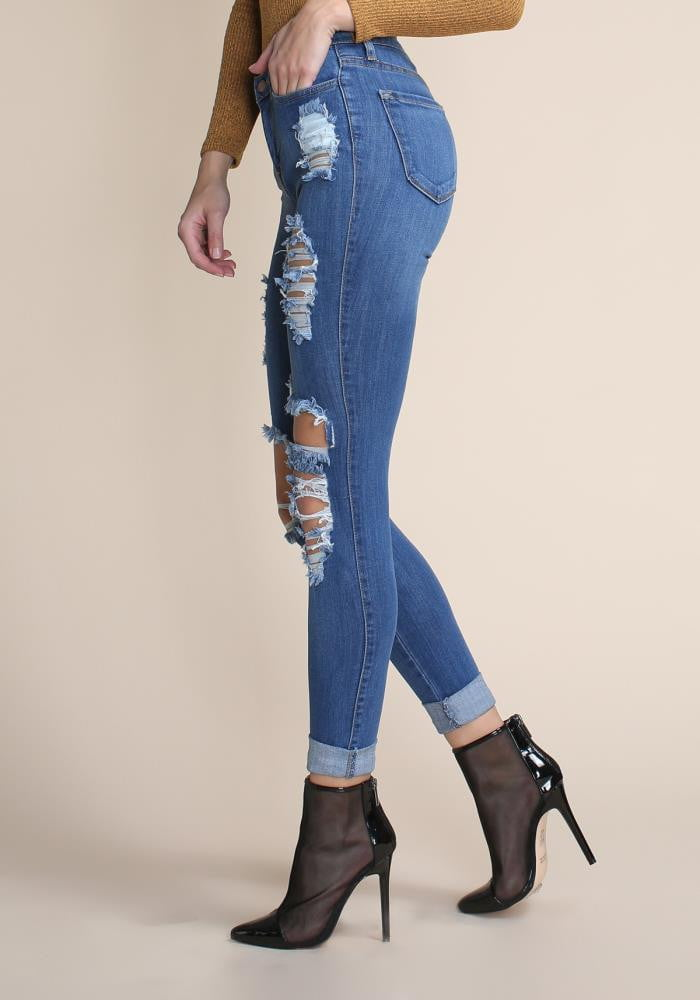 Blue Cut-Out Knee Low Rise Skinny Jeans - DIOR BELLA