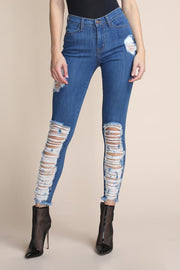 Blue Cut-Out Low Rise Skinny Leg Jeans - DIOR BELLA