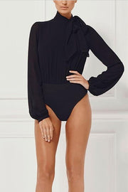 Black Chiffon And Bandage Long Sleeve Bodysuit - DIOR BELLA
