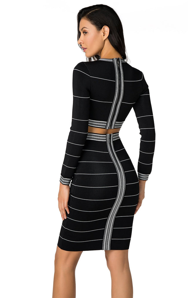 Black And White Crop Top Long Sleeve Skirt Suit
