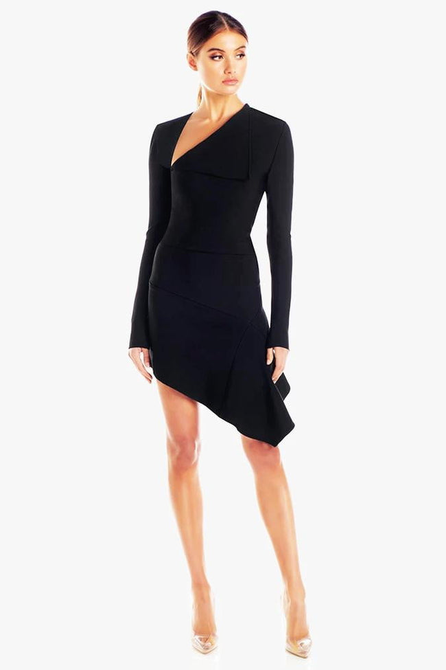 Asymmetrical Neckline Long Sleeve Mini Dress - DIOR BELLA