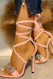 Pink Faux Suede Ankle Wrap Stiletto Sandals