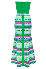 Green Multi Bandage Top And Midi Skirt Suit