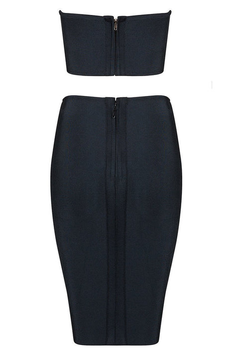 Black Painted Bandage Skirt Set - DIOR BELLA