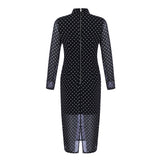Suri Black Polka Dot Long Sleeve Midi Dress - DIOR BELLA