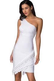 Sweet Charity  White One Shoulder Bandage Dress