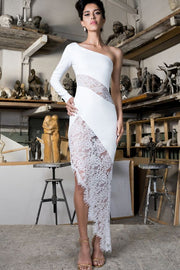 White Lace Bandage One Shoulder Dress
