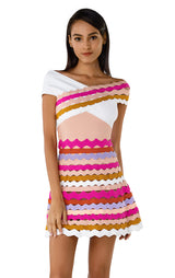 Off Shoulder Rachael Multi Color Bandage Mini Dress