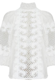 White Embroidered Puff Sleeve Blouse