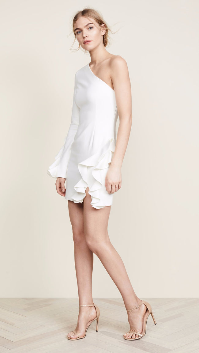 White One Shoulder Ruffled Mini Dress - DIOR BELLA