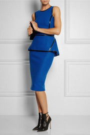 Royal Blue Leather Trim  Peplum  Dress - DIOR BELLA