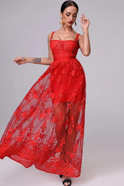 Red Francisca Lace Corset Maxi Formal Dress