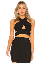 Black Cutout Crop Bandage Top