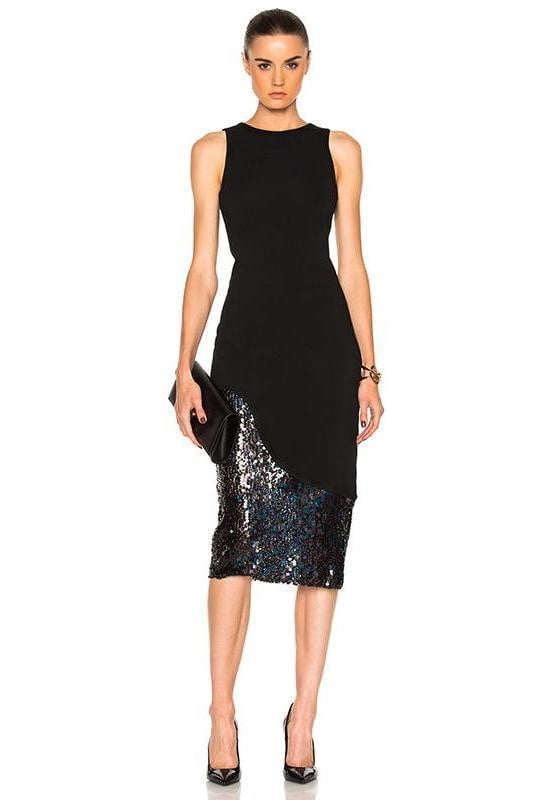 Black Sequins And Bandage Midi Dress - DIOR BELLA
