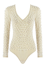 Beige Pearl Beaded Long Sleeve Bodysuit