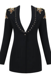 Black Beaded studded Blazer Jacket - DIOR BELLA