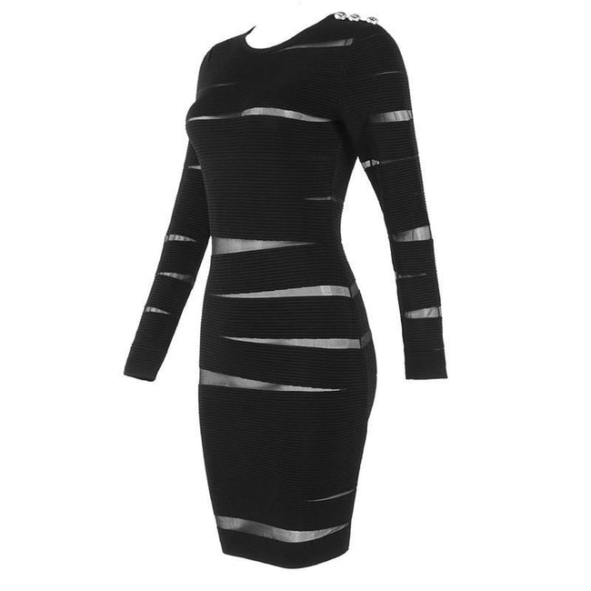 Black Long Sleeve Ribbed Bandage Party Dress - DIOR BELLA