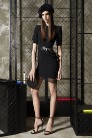 Black Zipper Net Insert Mini Dress - DIOR BELLA