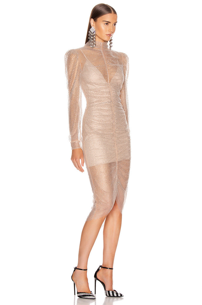 Sparkle Nude Silver Long Sleeve Midi Dress