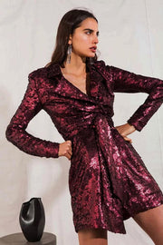 Burgundy Sequins Asymmetrical Cocktail Dress