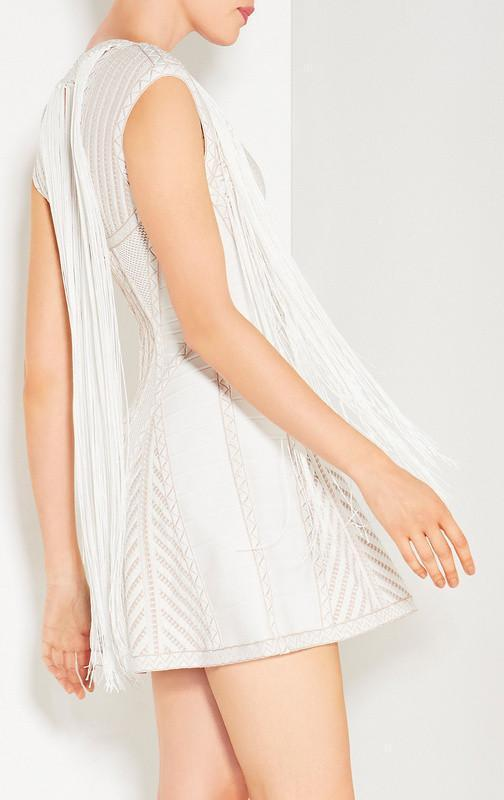 White Textured Fringe Bandage Mini Dress - DIOR BELLA