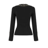 Black Bandage Beaded Zip Front Blazer Jacket