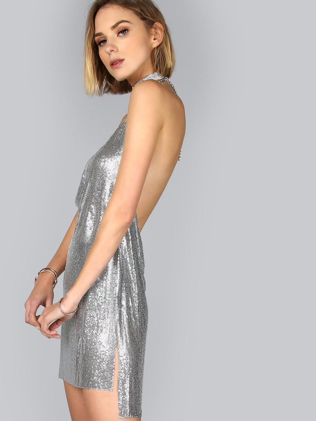 Disco Babe Silver Mesh Mini Dress - DIOR BELLA