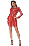 Red Long Sleeve Bandage Mini Dress