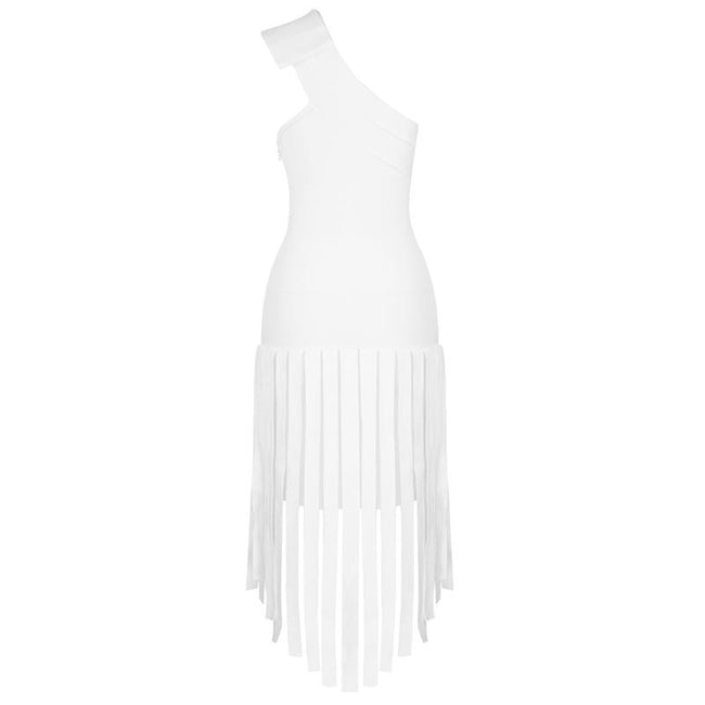 White One Shoulder Fringe Midi Dress - DIOR BELLA