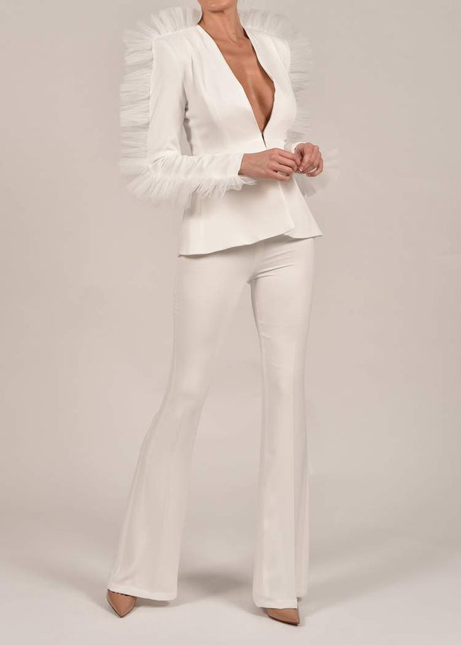 White Tulle Sleeve V-Neck Pant Suit - DIOR BELLA