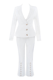 White Button Leg Capri Pants - DIOR BELLA