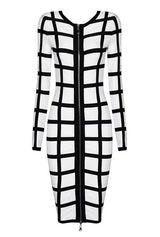 Black & White Long Sleeve Bandage Midi Dress - DIOR BELLA
