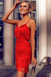 Red Fringe V-Neck Bandage Dress - DIOR BELLA