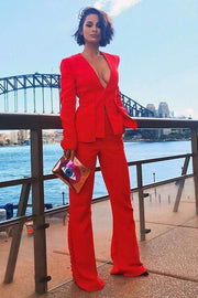 Anyssa Red Buttons Pants Suit - DIOR BELLA