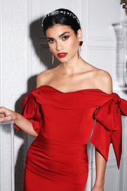 Red Satin Off Shoulder Bow Mini  Cocktail Dress