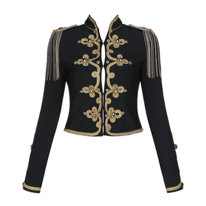 Black Bandage Military Blazer Jacket