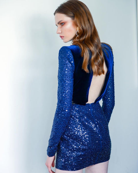 Royal Blue Sequins And Velvet Mini Dress