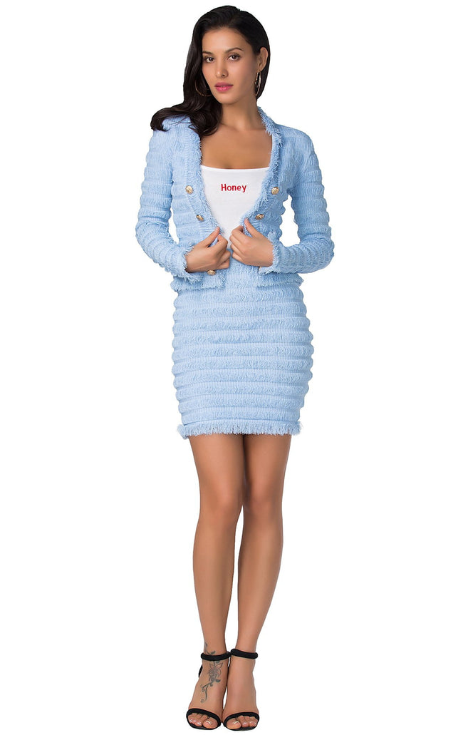 Light Blue Jacket And Mini Skirt Set - DIOR BELLA