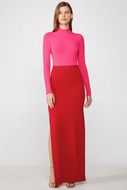 Pink Red Colour Block Long Sleeve Bandage Maxi Dress