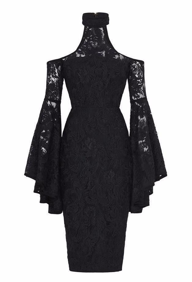 Kameron Black Cold Shoulder Lace Dress - DIOR BELLA