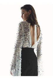 Belinda Beaded Open Back Blouse - DIOR BELLA