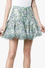 Becky Blue Floral Mini Skirt - DIOR BELLA