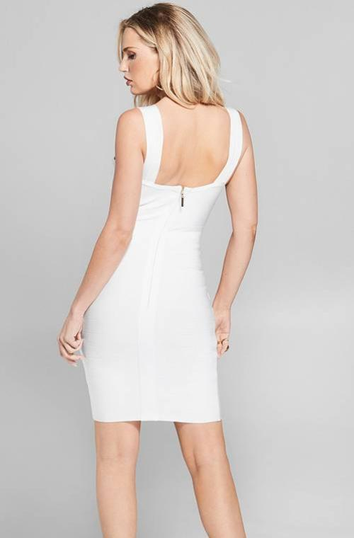 White V-Neck Bodycon Mini Dress - DIOR BELLA