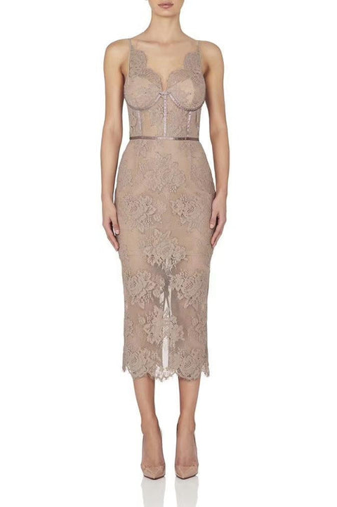 Blush Floral Lace Dress Midi Dress - DIOR BELLA