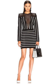 Black And White Stripe Bandage Mini Dress - DIOR BELLA