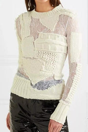 Ivory Patchwork Lace Sweater - DIOR BELLA