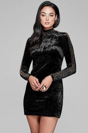 Black Velvet Long SleeveMini Dress - DIOR BELLA
