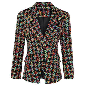 Plaid Double Breasted Blazer Jacket