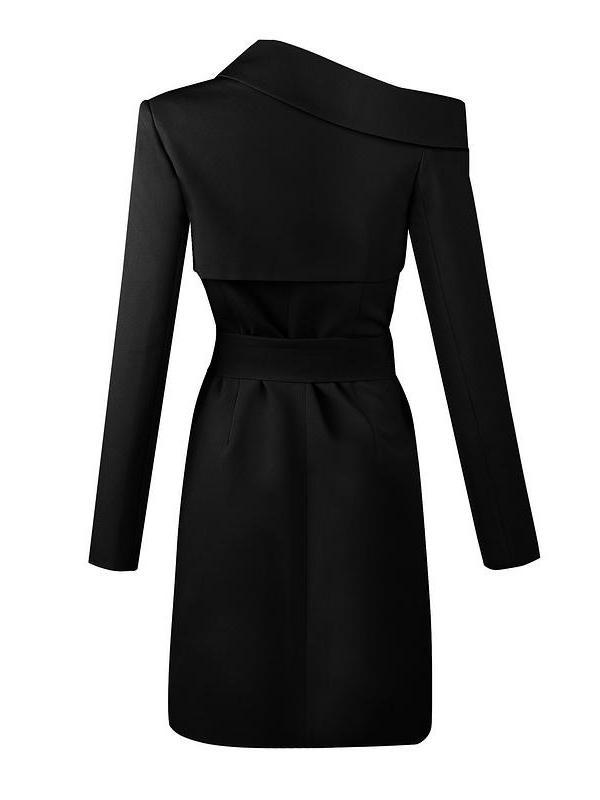 Terrie Black Asymmetrical Shoulder Blazer Jacket Dress